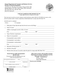 """Form 440-5180 """"Certain Compensatory Benefit Plans"""" - Oregon"""