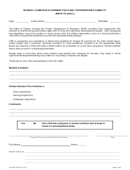 """Form 581-5150D-X """"Medical Condition Statement for Early Intervention Eligibility (Birth to Age 3)"""" - Oregon"""