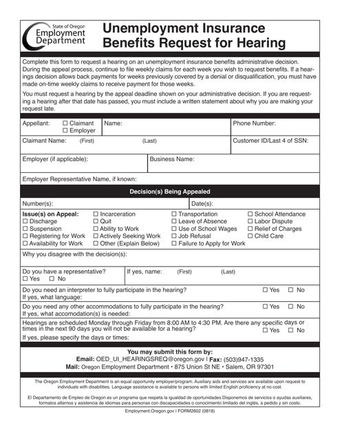 Form 2602  Printable Pdf