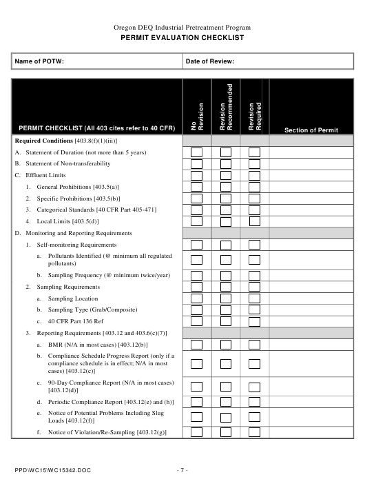 """Permit Evaluation Checklist"" - Oregon Download Pdf"