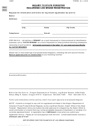 "Form 9-1-1-610 ""Inquiry to State Forester Regarding Log Brand Registration"" - Oregon"
