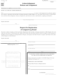 "Form 629-9-1-1-203 ""Acknowledgement Release and Assignment"" - Oregon"