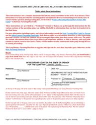 "Instructions for Exhibit 1 ""Medium/Long Distance Parenting Plan"" - Oregon"