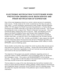 """Fact Sheet Electronic Notification to Petitioner When Protection Orders Have Been Served and Prior Notification of Expiration"" - Oregon"