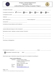 """""""Judicial Marshal Profiling Complaint Report Form"""" - Oregon"""