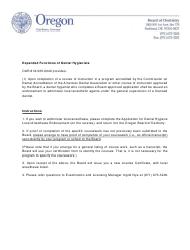 """Application for Dental Hygiene Local Anesthesia Endorsement"" - Oregon"