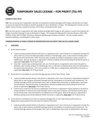 "Form TSL-FP ""Temporary Sales License - for Profit (Tsl-fp) Application"" - Oregon"