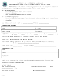 "Form 250-028 ""Statement of Contractor or Builder"" - Oregon"