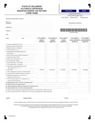 "Form 1800M ""Alcoholic Beverage Manufacturers Tax Return"" - Delaware"