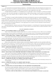 "Instructions for Form 1100S Schedule A-1 ""S Corporation Shareholder Information Return"" - Delaware"