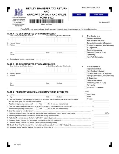 Form 5402  Printable Pdf