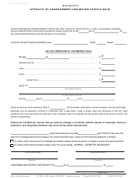"Form 78-009-10-8-1-000 ""Affidavit of Abandonment and Motor Vehicle Sold"" - Mississippi"