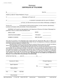 "Form 78016 ""Certificate of Title Bond"" - Mississippi"