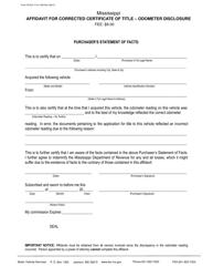 "Form 78-023-17-8-1-000 ""Affidavit for Corrected Certificate of Title - Odometer Disclosure"" - Mississippi"