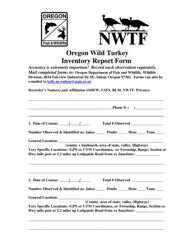"""Oregon Wild Turkey Inventory Report Form"" - Oregon"