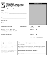 """""""Order Form for Leg Bands to Mark Domestically-Raised Upland Game Birds Used for Hunting Dog or Raptor Training"""" - Oregon"""