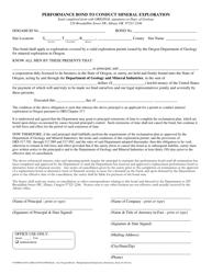 """Performance Bond to Conduct Mineral Exploration"" - Oregon"