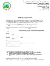 """Signature Authority Form"" - Oregon"