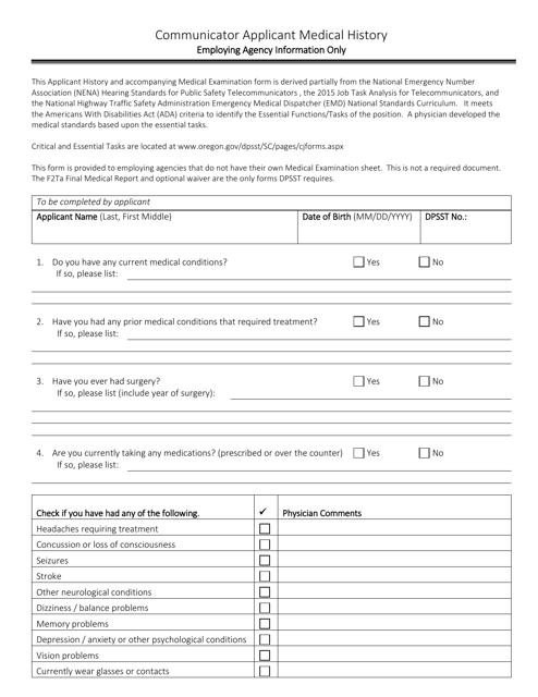 """Communicator Applicant Medical History Form"" - Oregon Download Pdf"