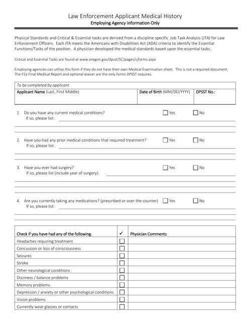 """Law Enforcement Applicant Medical History Form"" - Oregon Download Pdf"