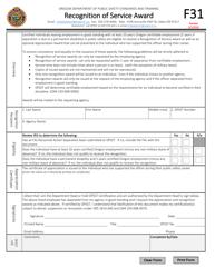 "Form F31 ""Recognition of Service Award"" - Oregon"
