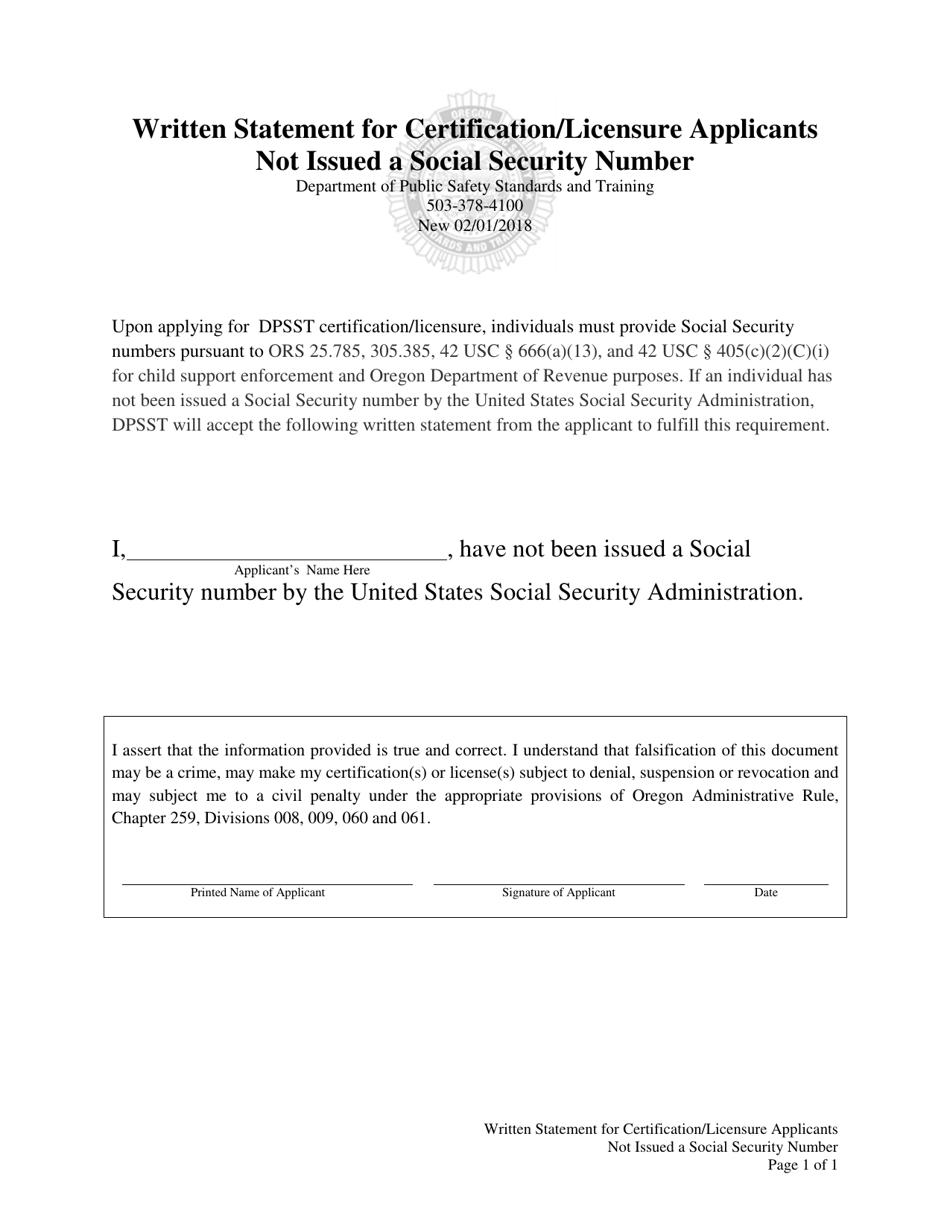 Oregon Written Statement for Certification/Licensure ...