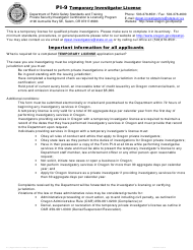 "Form PI-9 ""Temporary Investigator License"" - Oregon"