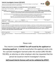 """Form PI-20 """"Interim Investigator License (120 Day)"""" - Oregon"""