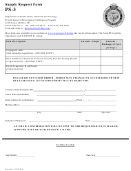 "Form PS-3 ""Supply Request Form"" - Oregon"