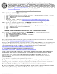 "Form PS-1 ""Application for Certification or Licensure"" - Oregon"