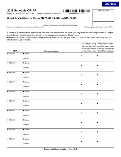 Form 150-102-034 2018 Fillable Pdf