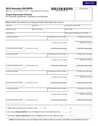 """Form 150-101-025 Schedule OR-DEPR """"Oregon Depreciation Schedule"""" - Oregon, 2018"""