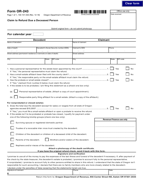 Form OR-150-101-032 (OR-243) 2018 Printable Pdf