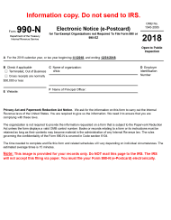 IRS Form 990-N 2018 Electronic Notice (E-Postcard)