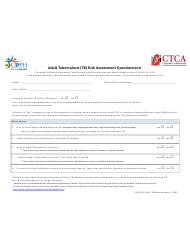 Form TCB‐01 Adult Tuberculosis (Tb) Risk Assessment Questionnaire - California