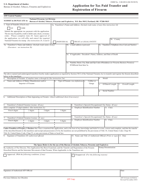 ATF Form 5320.4 (4)  Printable Pdf