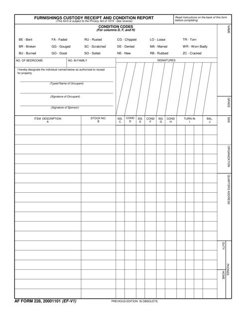 AF IMT Form 228  Printable Pdf