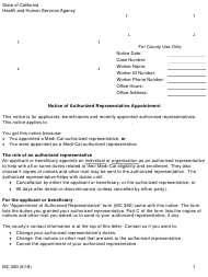 "Form MC380 ""Notice of Authorized Representative Appointment"" - California"