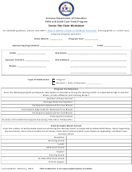 """Center Site Claim Worksheet"" - Arizona"