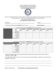 """Five-Day Reconciliation Form"" - Arizona"