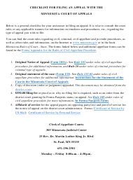 """""""Checklist for Filing a Civil Appeal With the Minnesota Court of Appeals"""" - Minnesota"""