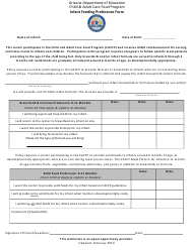 """Infant Feeding Preference Form"" - Arizona"