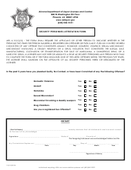 """Security Personnel Attestation Form"" - Arizona"