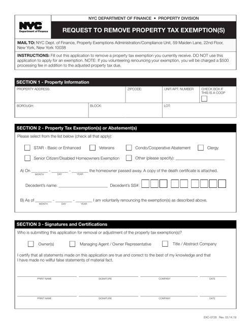 Form EXC-0728  Printable Pdf