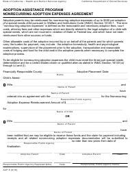 "Form AAP8 ""Adoption Assistance Program Nonrecurring Adoption Expenses Agreement"" - California"