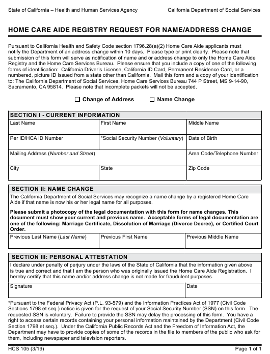 Form Hcs105 Download Fillable Pdf Or Fill Online Home Care Aide Registry Request For Name Address Change California Templateroller