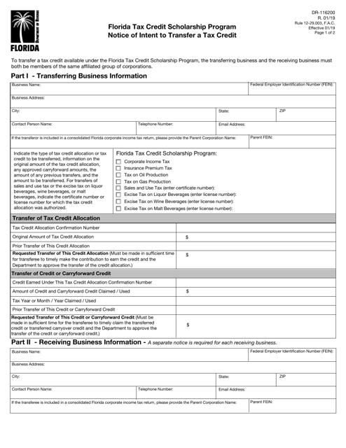 Form DR-116200  Printable Pdf