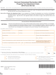 "VT Form HS-122 ""Vermont Homestead Declaration and Property Tax Adjustment Claim"" - Vermont, 2019"