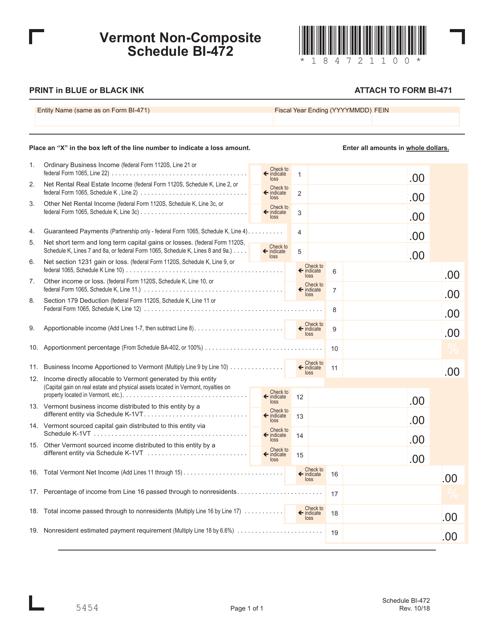 form 1065 pdf  Schedule Bi-10 - Non-composite Schedule Download Printable ...