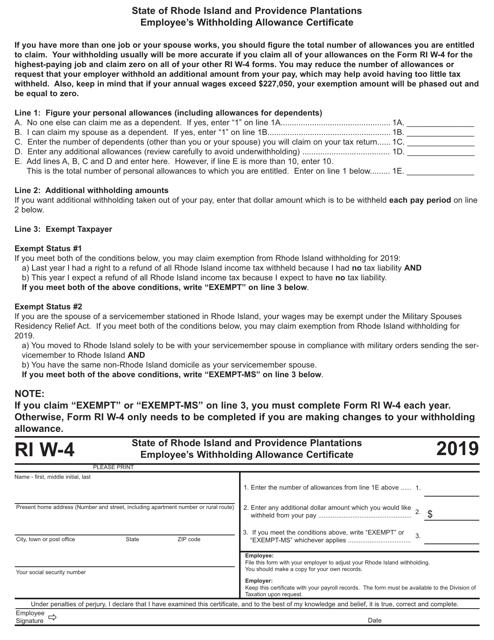 Form W-4 2019 Printable Pdf